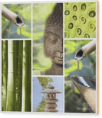 Green Collage Wood Print by Delphimages Photo Creations