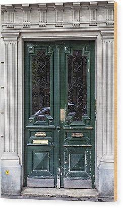 Green Door In Paris Wood Print by Georgia Fowler