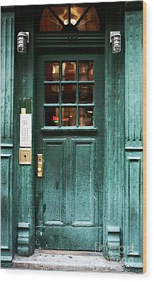 Green Door In The Village Wood Print by John Rizzuto