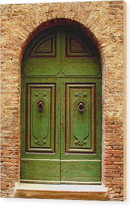 Green Door Wood Print by Ramona Johnston