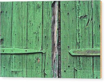 Green Door Wood Print by Steve Archbold