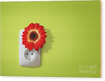 Green Electricity Wood Print by Carlos Caetano