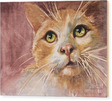 Green Eyes Wood Print by Judith Levins