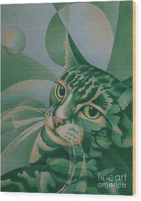 Green Feline Geometry Wood Print
