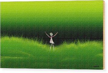Green Field Wood Print by Asok Mukhopadhyay