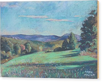 Green Field With Shadows Wood Print
