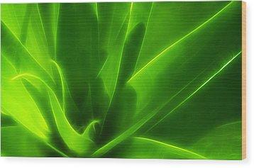 Green Flame Wood Print by Suradej Chuephanich