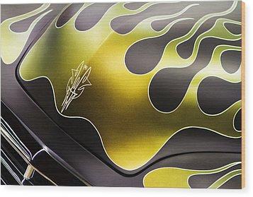 Green Flames Wood Print by Rebecca Cozart