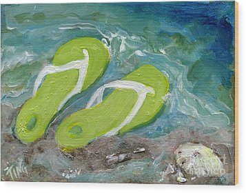 Wood Print featuring the painting Green Fliip Flops On Tybee by Doris Blessington