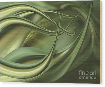 Green Flow Wood Print