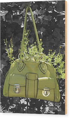 Green Flower Bag Wood Print by Sebastian Mathews Szewczyk