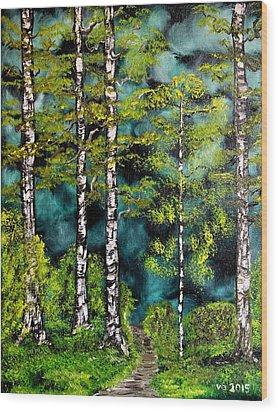 Green Forest Wood Print by Valerie Ornstein