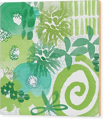 Green Garden- Abstract Watercolor Painting Wood Print by Linda Woods
