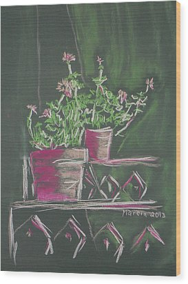 Green Geraniums Wood Print by Marcia Meade