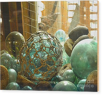 Green Glass Japanese Glass Floats Wood Print