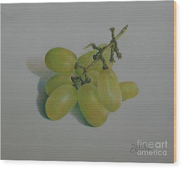 Green Grapes Wood Print by Pamela Clements