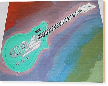 Green Guitar Wood Print by Magdalena Frohnsdorff