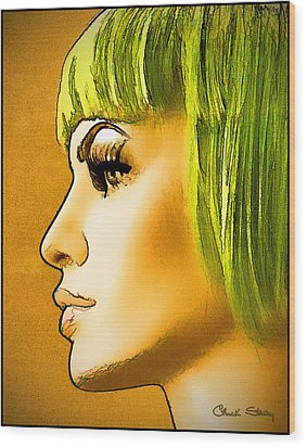Green Hair Wood Print
