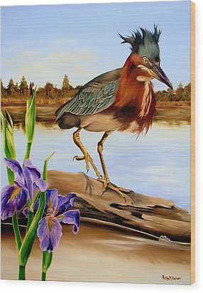Wood Print featuring the painting Green Heron Dance by Phyllis Beiser