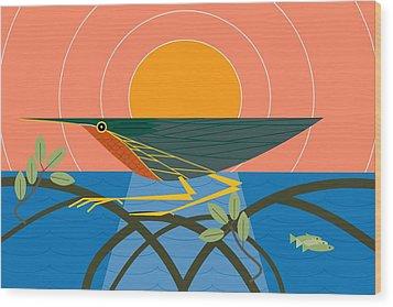 Green Heron Wood Print
