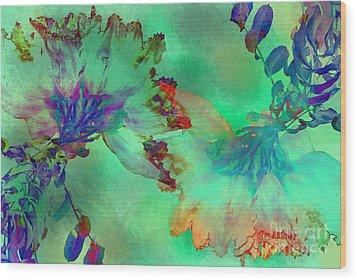 Green Hibiscus Mural Wall Wood Print