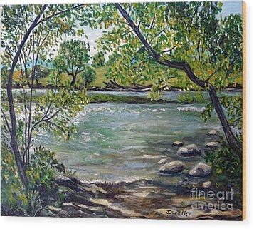 Green Hill Park On The Roanoke River Wood Print