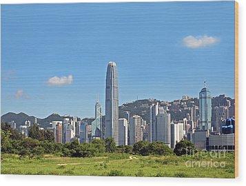 Green Hong Kong Skyline Wood Print by Lars Ruecker