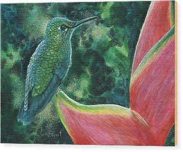 Green Hummingbird Wood Print by Sandra LaFaut