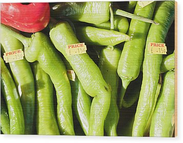 Green Jalpeno Peppers Wood Print by Tom Gowanlock