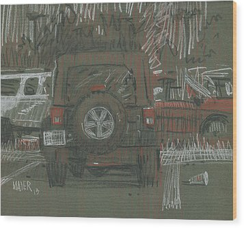 Wood Print featuring the painting Green Jeep by Donald Maier