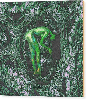 Wood Print featuring the painting Gaia Earthly Goddess Nymph Farie Mother Earth Fine Art Print by David Mckinney