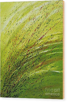 Wood Print featuring the painting Green Landscape - Abstract Art  by Ismeta Gruenwald