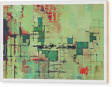 Green Lattice Abstract Art Print Wood Print by Karyn Lewis Bonfiglio