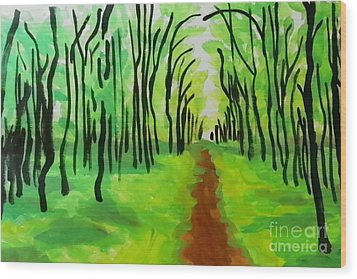 Wood Print featuring the painting Green Leaves by Marisela Mungia
