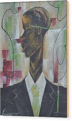 Green Light Green Stripe Wood Print by Hasaan Kirkland