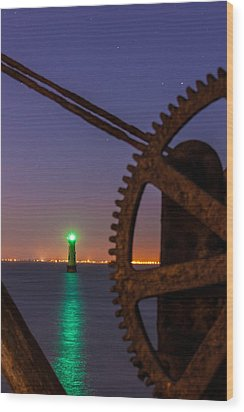 Green Lighthouse Wood Print by Semmick Photo