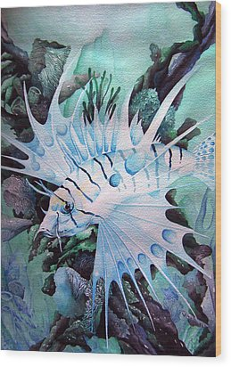 Green Lionfish Wood Print by William Love