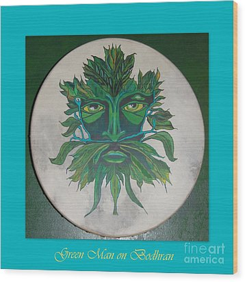 Wood Print featuring the painting Green Man On Bodhran by Linda Prewer