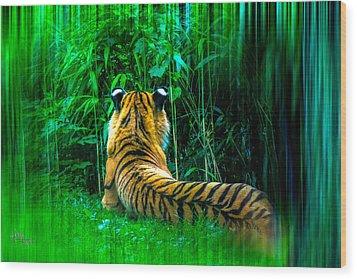 Green Meditation Wood Print
