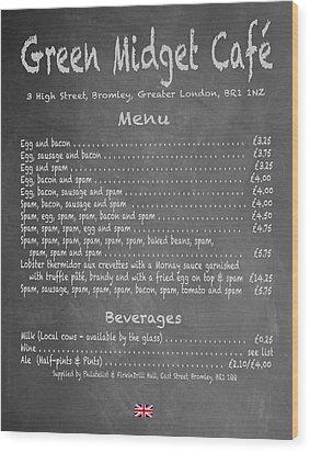 Green Midget Cafe Chalkboard Menu Wood Print