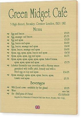 Green Midget Cafe Menu Parchment Wood Print