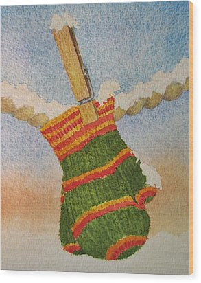 Wood Print featuring the painting Green Mittens by Mary Ellen Mueller Legault