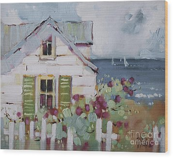 Green Nantucket Shutters Wood Print by Joyce Hicks