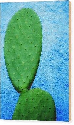 Green On Blue Wood Print by Carol Leigh
