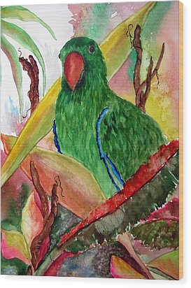 Green Parrot Wood Print by Lil Taylor