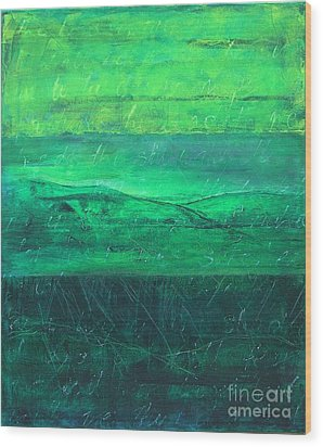Wood Print featuring the painting Green Pastures by Jocelyn Friis