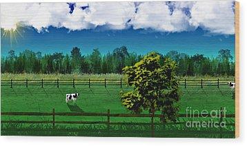 Green Pastures Wood Print by Thomas OGrady