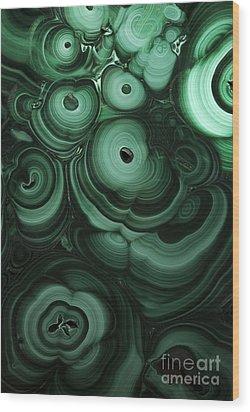 Green Patterns Of Malachite Wood Print