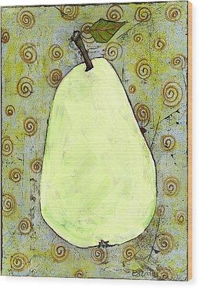 Green Pear Art With Swirls Wood Print by Blenda Studio