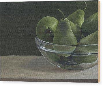 Green Pears Wood Print by Natasha Denger